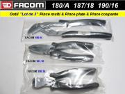 Lot pinces Facom multiprise 180A pince plate 187-18 pince coupante isolée 190-16 (outillage atelier)